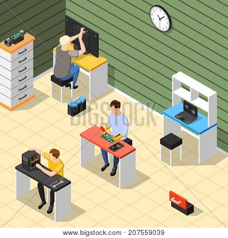 Service centre isometric composition with technical staff in office room repairing electronic devices of high complexity isometric vector illustration