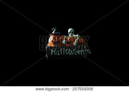 Halloween concept : Low key image of Plastic human skeleton model ceramic pumpkins and Halloween sign isolated on black background