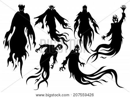 Silhouette of flying evil spirit in vector style collection. Graphic resource about ghost and fantasy.