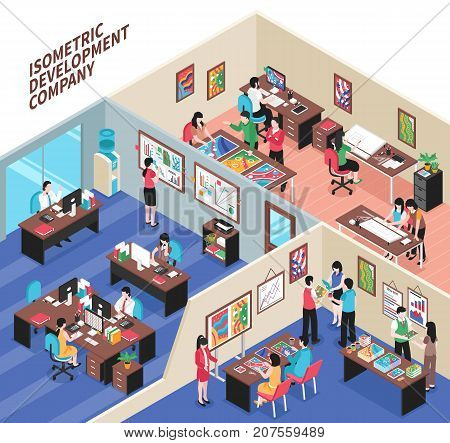 Development company isometric vector illustration with office interiors and creative employees involved in business process