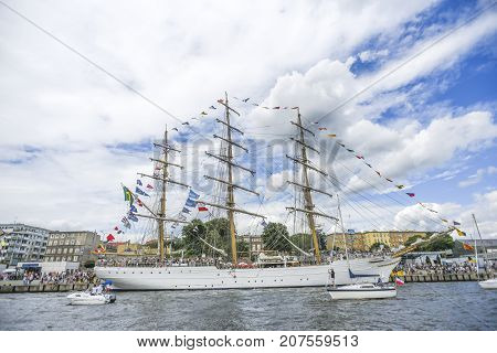 Szczecin Poland 5 august 2017: Ship at the quay during the finale of The Tall Ships Races 2017 in Szczecin.