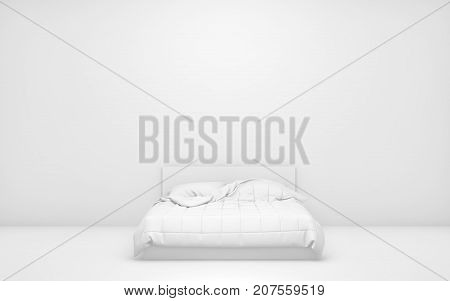 White light room with bed and empty background wall. 3d rendering
