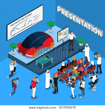 Car presentation isometric composition on blue background with orator near screen, audience and journalists vector illustration