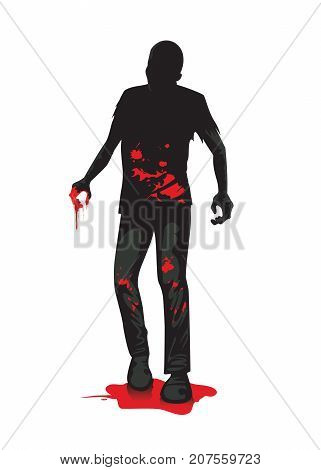 Silhouette of zombie full length standing on blood puddle isolated on white. Illustration about horror and mystery.
