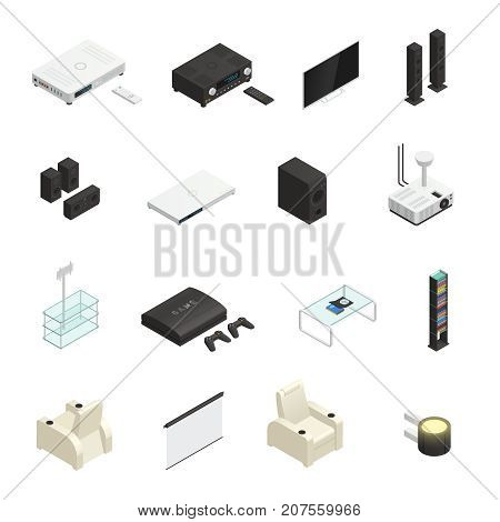Modern home theater system isometric icons set isolated on white background 3d vector illustration