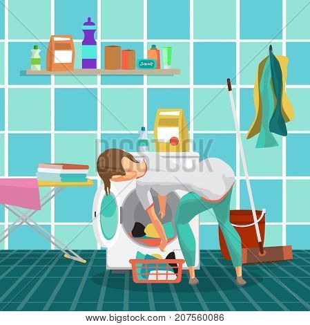 Young woman housewife washes clothes in the washing machine in bathroom. The girl takes out the washed laundry. Flat cartoon vector illustration