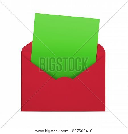 Christmas card opened envelope with blank note isolated on white background with copy space