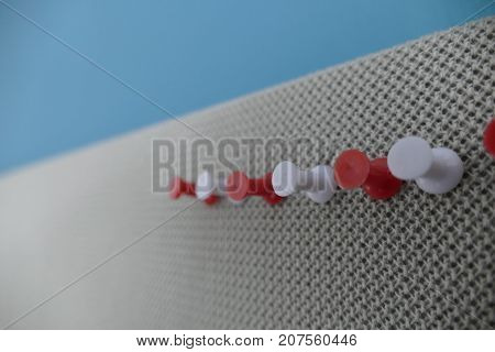 Colored Pin In An Office Pinboard