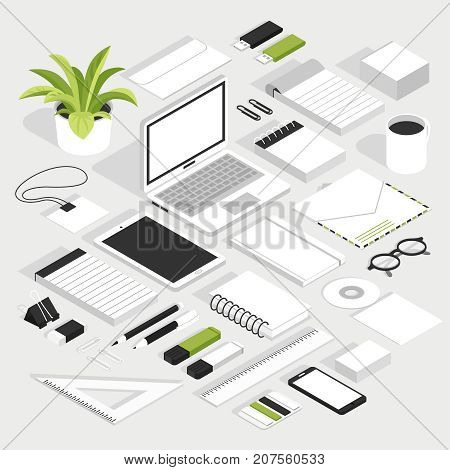 Stationary isometric white set with notebook smartphone glasses badge envelope floppy disk and other office supplies isolated elements vector illustration