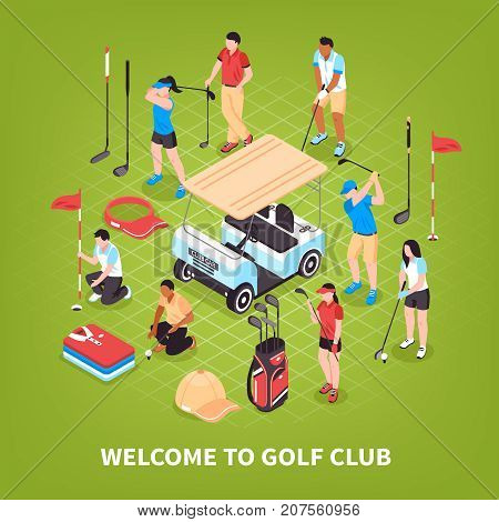 Golf club concept with game and competition symbols isometric vector illustration