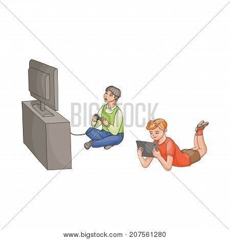 vector flat cartoon teen boy playing video console game by joystick sitting near tv panel stand, kid using laptop Isolated illustration on a white background. modern digital visual technology concept