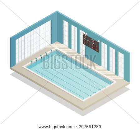 Swimming pool deep bath lanes with electronic board isometric and tiled walls isometric interior view vector illustration