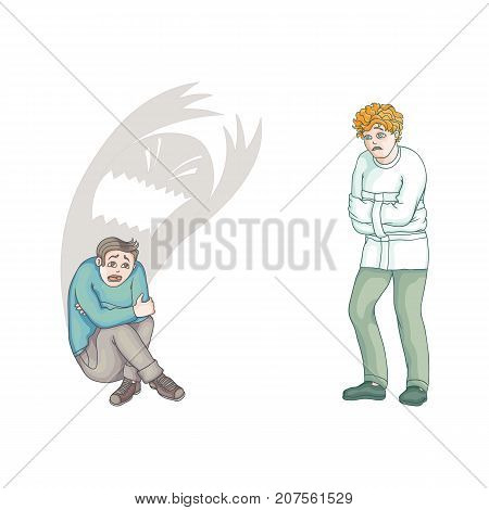vector flat men in Psychiatric hospital uniform and straitjacket suffering from anxiety, another male character sitting with monster shadow behind him. Isolated illustration on a white background.