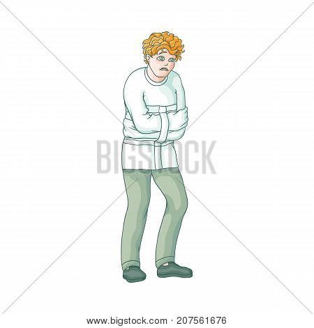 vector flat man in Psychiatric hospital, mental patient uniform and straitjacket suffering from anxiety. Isolated illustration on a white background. Mental illness concept