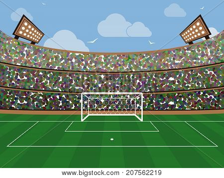 Sport Stadium With Soccer Goal Net, Green Grass, Tribunes, Fans And Blue Sky With Cloud. Footbal Are