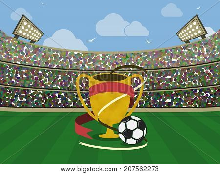 Soccer Stadium And Gold Trophy With Red Ribbons And Ball. Football Arena. Vector Illustration.
