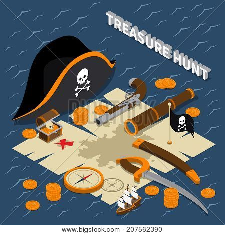 Treasure hunt isometric composition with map hat golden coins compass dagger binoculars handgun vector illustration