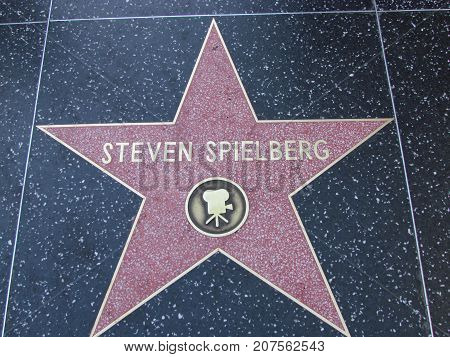 Los Angeles California USA, 10 February 2011: Director Steven Spielberg star on Hollywood boulevard walk of fame in LA