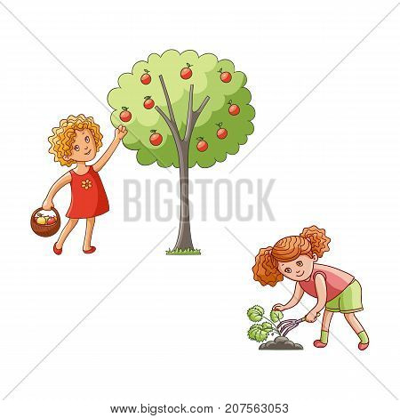 vector flat children at garden scene set. Girl holding basket collecting apples from apple tree, another one loosening soil by flower rake. Isolated illustration on a white background.