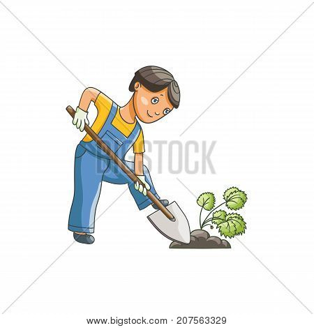 vetor flat cartoon teen boy in worksuit digging the hole by shovel to plant a plant or bush. Isolated illustration on a white background. Children at garden concept.