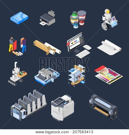 Printing house polygraphy industry isometric icons set of isolated computer peripherals printer consumables paper and furniture vector illustration