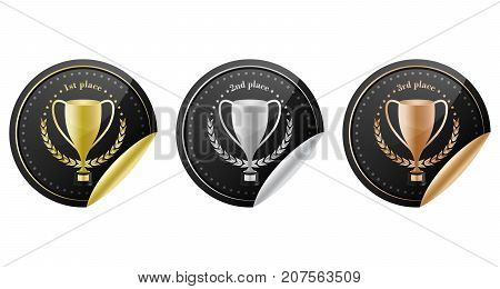 Sport Trophy Vector Icons For The First Place, Second Place And Third Place With Laurel Wreath And S