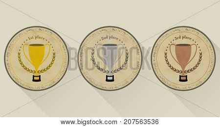 Sport Trophy Vector Icons In Retro Style For The First Place, Second Place And Third Place With Laur