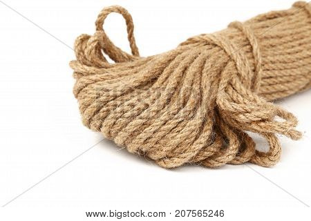 Burlap Jute Twine Coil Skein Isolated On White