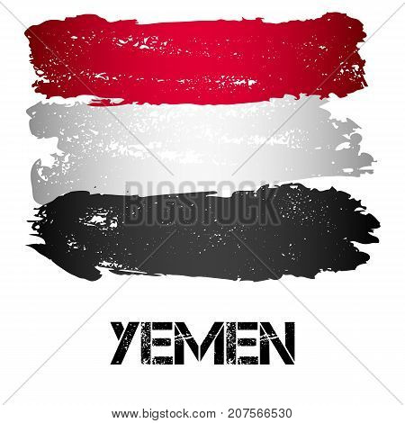 Flag of Yemen from brush strokes in grunge style isolated on white background. Arab country on Arabian Peninsula in Western Asia. Vector illustration