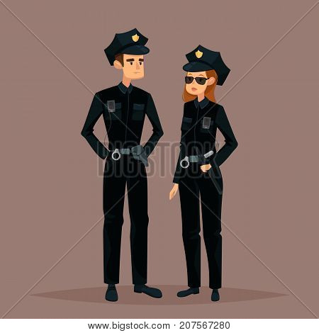 Police man and woman in sunglasses. Cartoon american policeman and policewoman, standing sheriff. Couple of people at work or job. Man and female in uniform. Guard and safety service theme