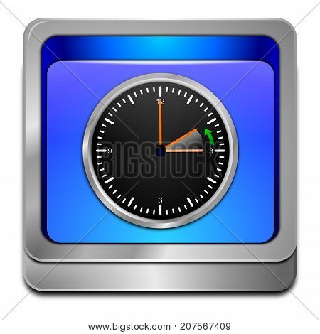clock showing end of daylight saving time on blue button - 3D illustration