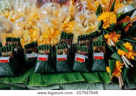 CHIANG MAI THAILAND - AUGUST 27: An offerings stall at the Warorot market on August 27 2016 in Chiang Mai Thailand.