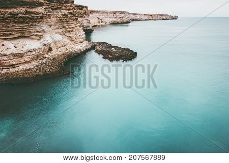 Blue Sea with rocky seaside Landscape calm and tranquility scenic view vacations travel