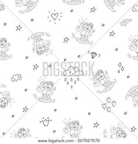 Hand drawn seamless pattern with Smiling Teen with a snowboard.