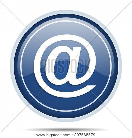 Email address blue round web icon. Circle isolated internet button for webdesign and smartphone applications.