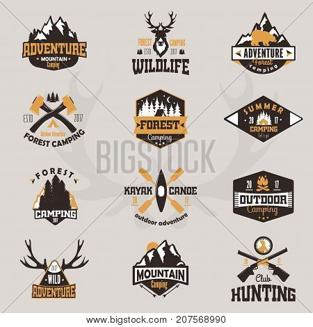 Outdoor tourist travel logo scout badges template emblem vector illustration collection. Mountains and rivers