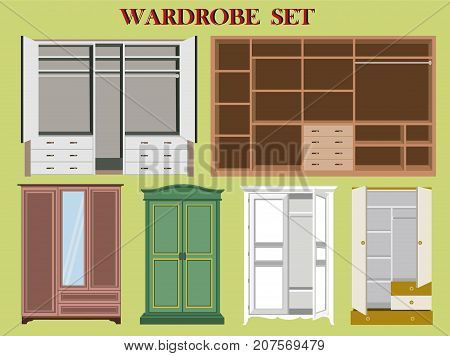 Set of stylish modern  wardrobes for clothes on bright background. Comfortable functional bedroom furniture - cabinets and wardrobes. Flat style vector illustration.
