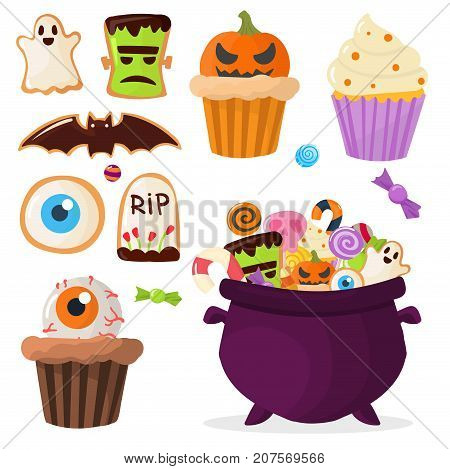 Halloween party homemade colorful sweets icons set vector illustration cupcakes lollipops jelly beans cookies cake candies caramel good for holiday design.