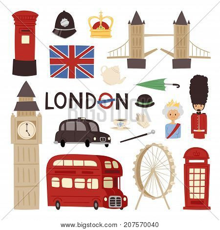 London travel icons english set city flag europe culture tourism england traditional vector illustration. Famous british city architecture britain elements.