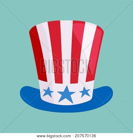 Vector illustration of hat in american flag color usa nation country patriotic cap independence government patriotism. History traditional fashion sign.