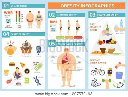 Obesity weight loss and fat people health problems infographic healthy elements exercise for good health with food vector illustration. Wellness body overweight concept.