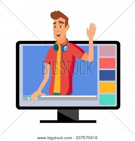 Video Blogger Vector. Modern Blogger Recording Video Blog, Vlog. Blogger Shoots Video. Cartoon Character Illustration