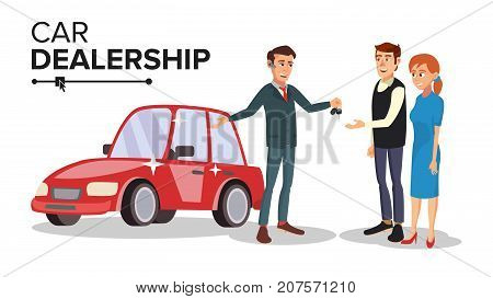 Car Dealer Salesperson Vector. Choosing New Machine Concept. Seller Man. Cartoon Business Character Illustration