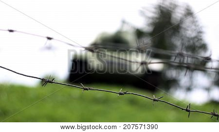 the tank goes through strengthenings and a barbed wire