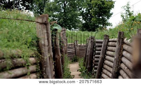 empty battlefields. empty infantry entrenchment for soldiers.