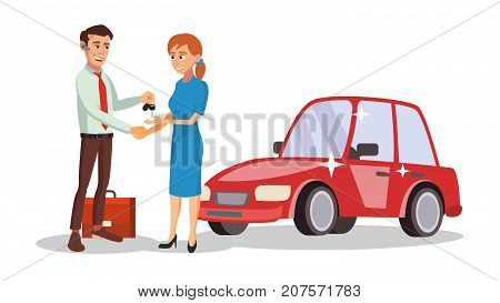 Professional Car Dealer Vector. Happy Professional Automobile Salesman. Choosing And Selling A Car. Isolated On White Cartoon Character Illustration