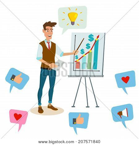 Crowdfunding, Start Up Vector. Professional Creative People. Successful Financial Start Up Strategy Planning Meeting. Cartoon Business Character Illustration