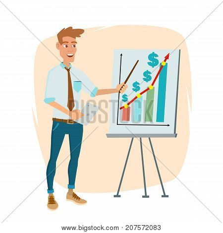 Crowdfunding, Start Up Vector. Crowd Funding Process Concept. Innovative Start Up Monetization Project Idea. Isolated On White Cartoon Business Character Illustration