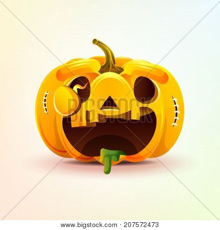 Stock vector illustration horrible cartoon Jack-o-lantern, facial expression autumn pumpkin with rejoicing smiley emotion, emoji, sticker for celebrating Day all Saints, Happy Halloween in flat style