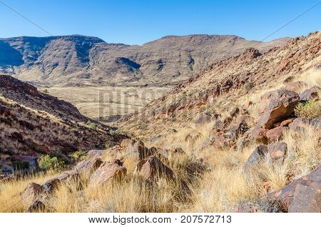 View of beautiful Brukkaros mountain and crater, an impressive landscape near Keetmanshoop, Namibia, Southern Africa.
